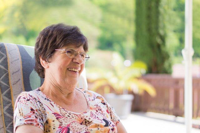 senior woman wearing glasses after CXL for keratoconus in Lewis Center, OH