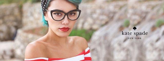 Optometrist, woman wearing designer eyeglasses in Jacksonville, Florida