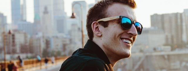 Eye Doctor, Man Wearing Kazuo Kawasaki Sunglasses in Philadelphia, PA.