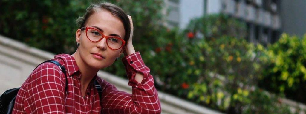 Student Female Red Glasses 1280×480