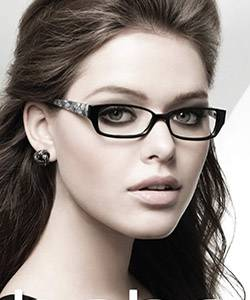 Model wearing BeBe glasses
