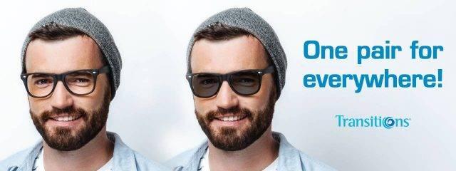 Eye doctor, man wearing transitions lenses eyeglasses in Cromwell, CT