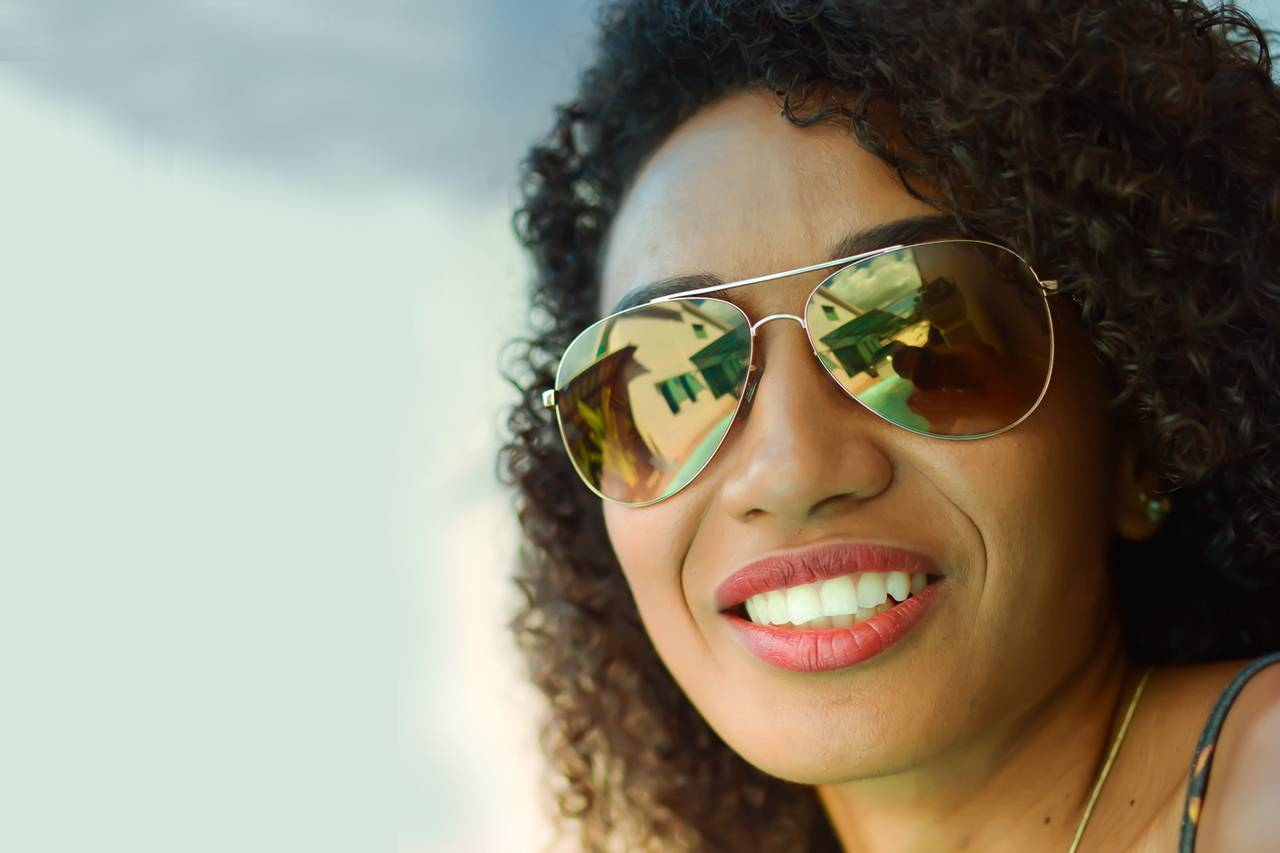Woman Smiling Sunglasses Sky 1280x853