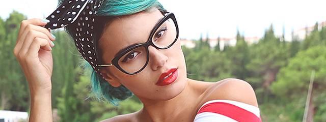Optometrist, woman wearing designer frame eyeglasses Kate Spade in Kamloops, BC