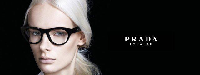 Optometrist, woman wearing Prada eyeglasses