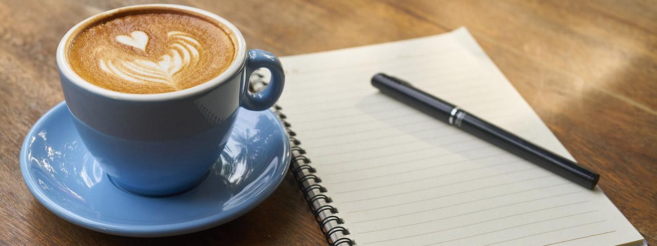 Coffee Mug and Notebook 1280×480