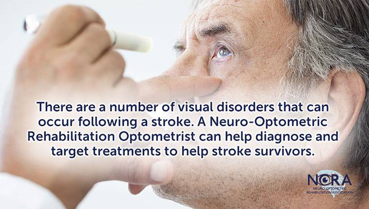 Slide that says There are a number of visual disorders that can occur following a stroke. A Neuro-Optometric Rehabilitation Optometrist can help diagnose and target treatments to help stroke survivors.