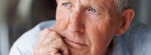 Eye care, pensive senior man in Fairhope, Alabama