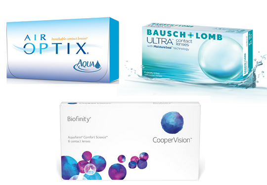 Alcon Air Optix Aqua Coopervision Biofinity Bausch and Lomb Ultra Featured Contact Lenses