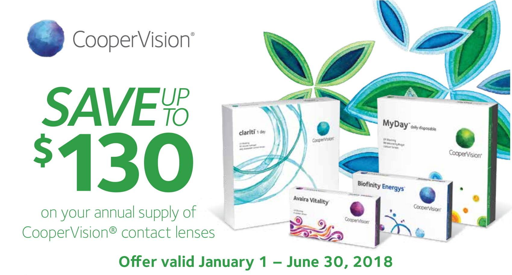 Cooper Vision rebate in San Jose $130 off