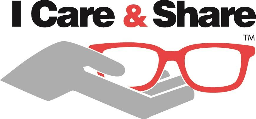 I Care & Share logo black red and grey with glasses and hands