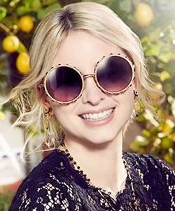 Model wearing Dolce Gabbana sunglasses