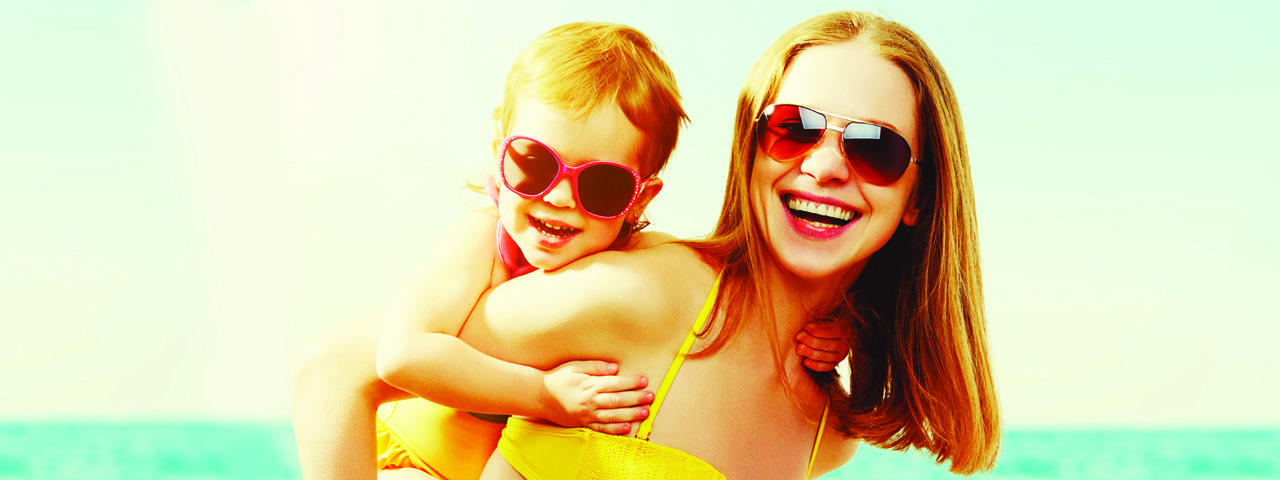 Mother and child wearing sunglasses in Waterloo, ON