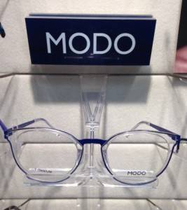 Photo of crystal- and blue- coloured MODO glasses frame