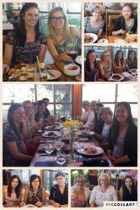 Collage of photos of the team enjoying lunch in Niagara.
