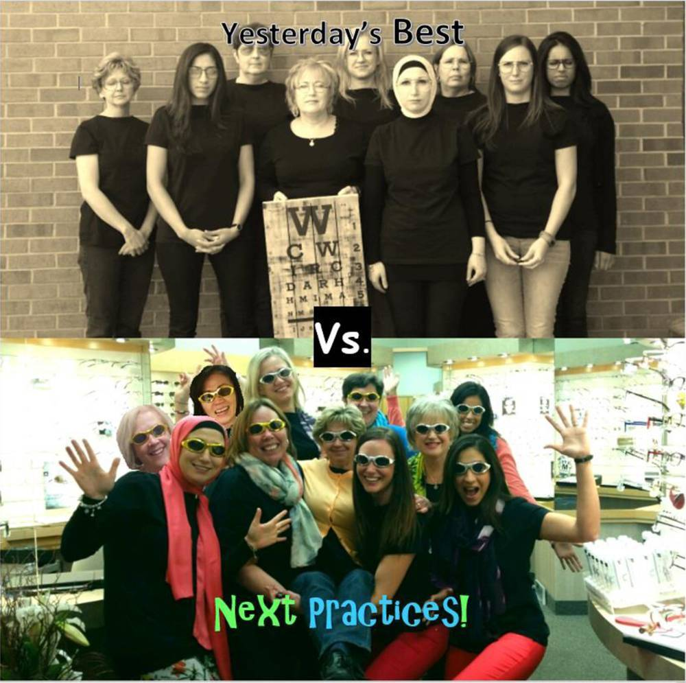 Two photos. Top photo is sepia with text 'yesterday's best' and shows team looking serious and wearing all black. Text reads 'vs.' between the two photos. Bottom photo is in colour with text 'next practices!' and shows team smiling and doing jazz hands with bright clothing and shiny sunglasses.