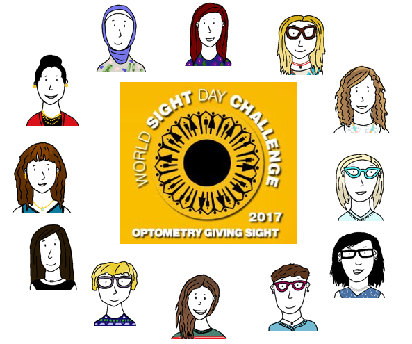 World Sight Day Challenge 2017 Optometry Giving Sight logo surrounded by drawings of the Milton Family Eye Care team members