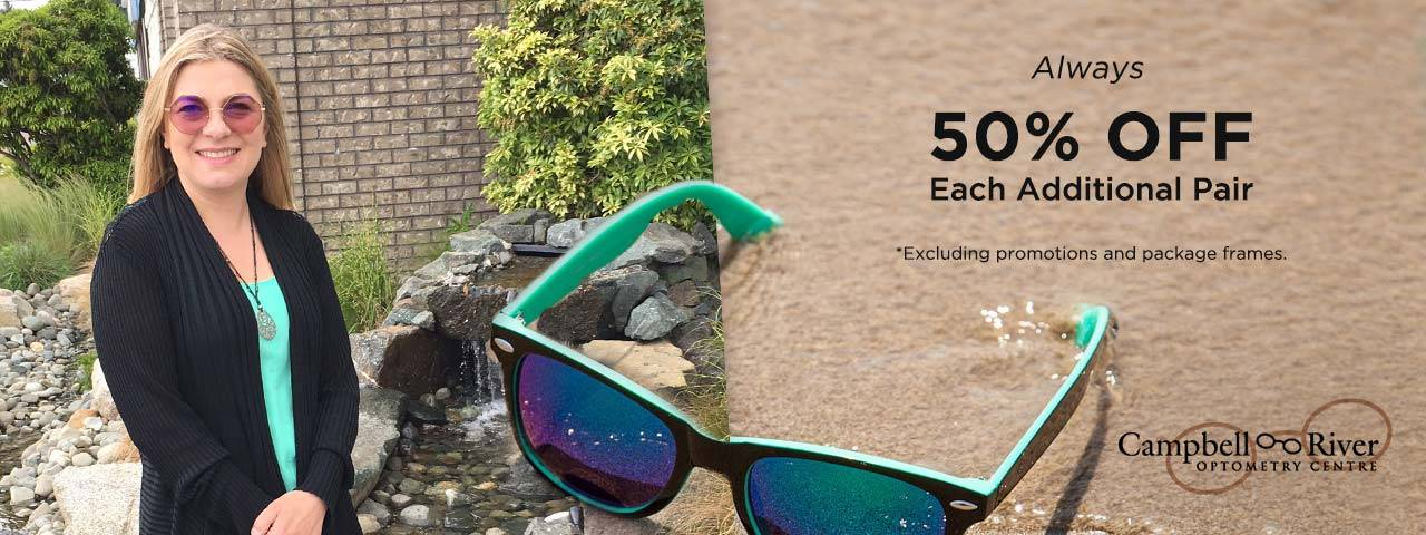 50% Off Each Additional Pair of Frames at Campbell River Optometry Centre in Campbell River, British Columbia