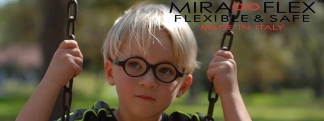 Eye doctor, boy wearing Miraflex eyeglasses in Oak Brook, IL