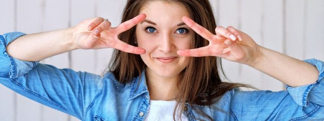 Eye doctor, happy blue eyed girl in Oak Brook, IL