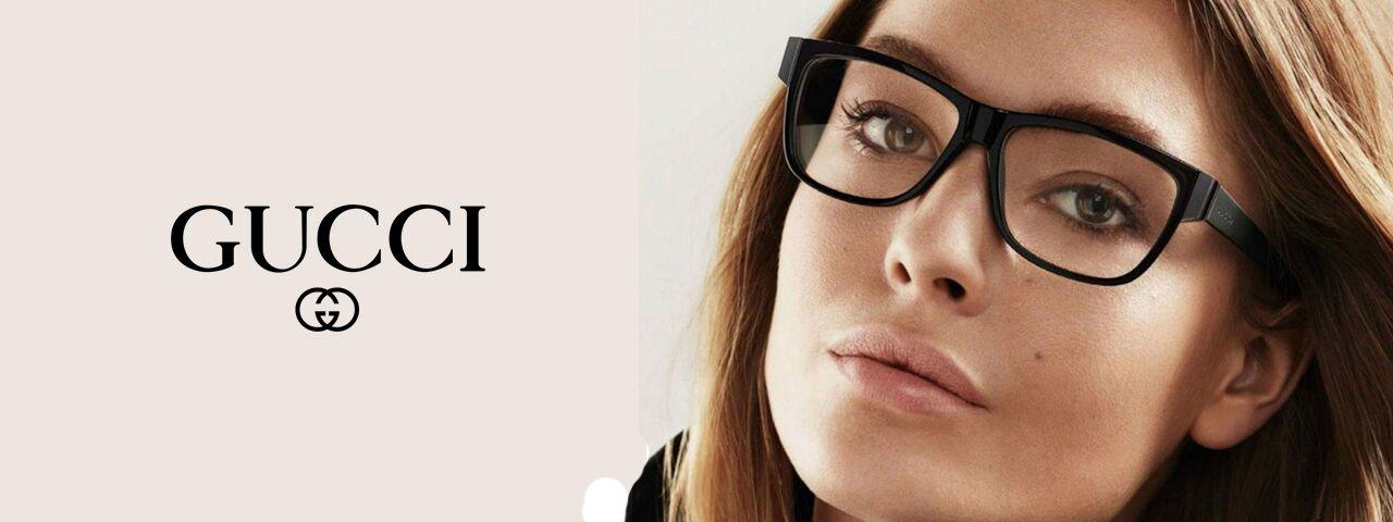 Optometrist, woman wearing Gucci eyeglasses in Carrollton, TX