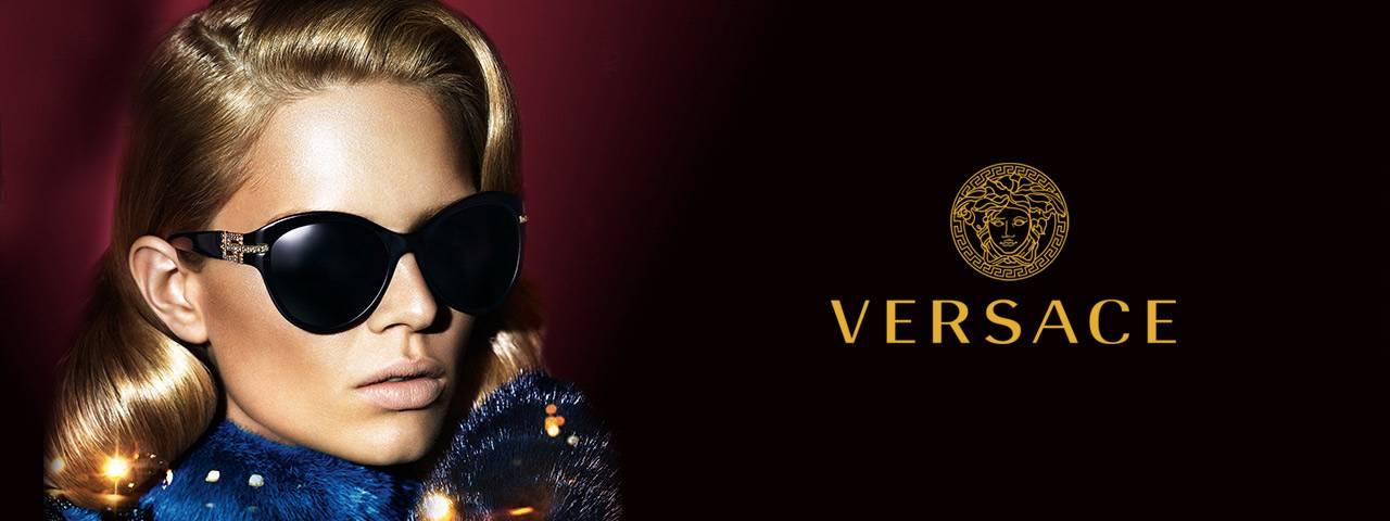 Eye doctor, woman wearing Versace sunglasses in Carrollton, TX