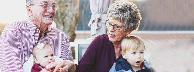 Eye care, senior couple with their grandchildren in Plano, TX