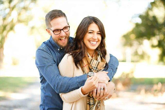 eye exam, woman wearing scleral lenses, with boyfriend in eyeglasses in Lewis Center, OH
