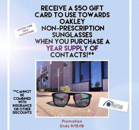 Graphic - Oakley Sunglasses Gift Card when buying contact lenses - Optometrist - St. Peters & Wentzville, MO