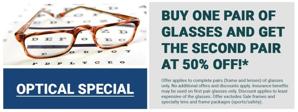 e8f7c7d8595 Buy One Pair of Glasses and Get the Second Pair at 50% Off!