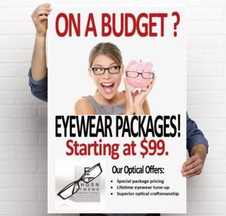 sign advertising budget eyewear in Llano and Fredericksburg, TX