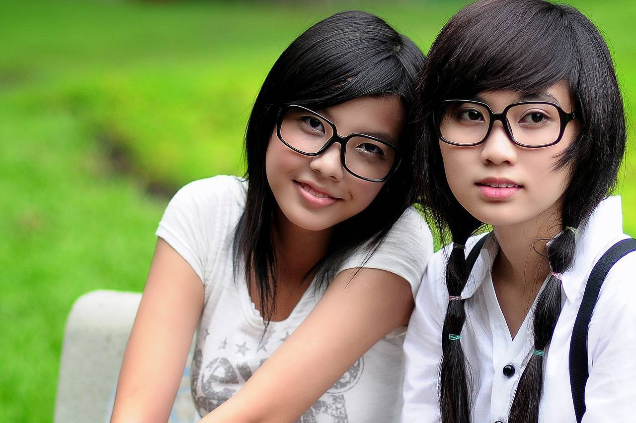 Girls Glasses Bench Outdoors