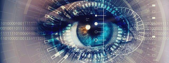 Eye doctor, woman, eye close up, digital tech in Danbury & Stamford, CT