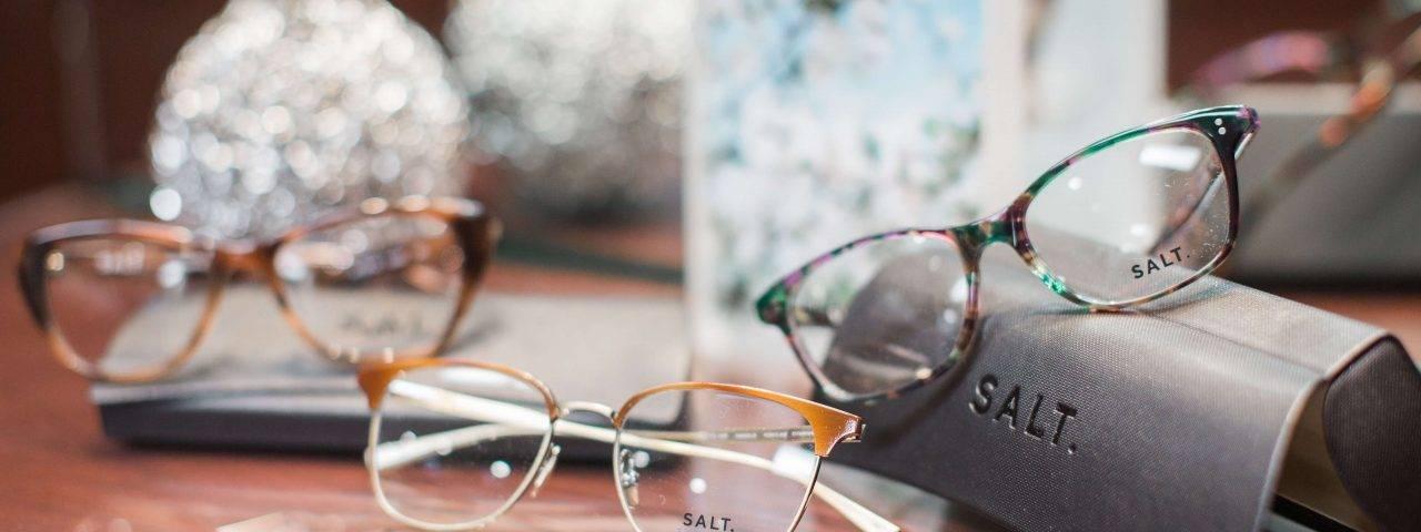 Eye doctor, pairs of SALT eyeglasses in Huntington Beach, CA