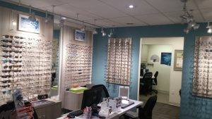 brooklin vision care optical wall and exam room