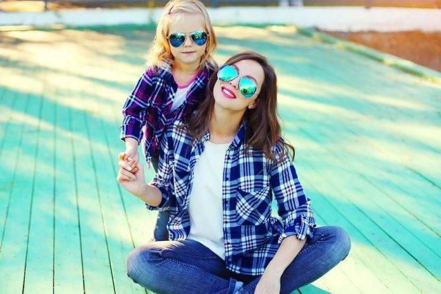 Mother and Daughter wearing Sunglasses in Battle Creek