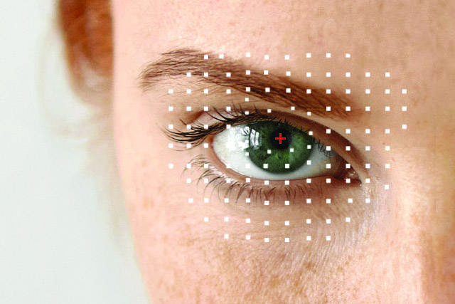Eye exam, woman eye with red eye emergency in Coldwater, St Marys, Greenville, OH