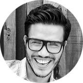 Happy man wearing glasses